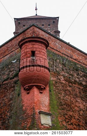 KRAKOW, POLAND - JULY 19, 2018:  Details from historical architecture from Wawel Royal Castle in Krakow.