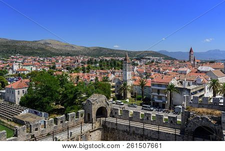 Trogir, Croatia - July 12, 2017: View Of The Port And Embankment From The Fortress Of The City Of Tr