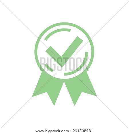 Approved Certified Icon. Certified Seal Icon. Rosette Or Award Vector Icon, Quality Accepted Check F