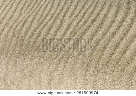 Light Sand Texture For A Background. Abstract Texture Waves On The Sand In The Desert. Patterns In T