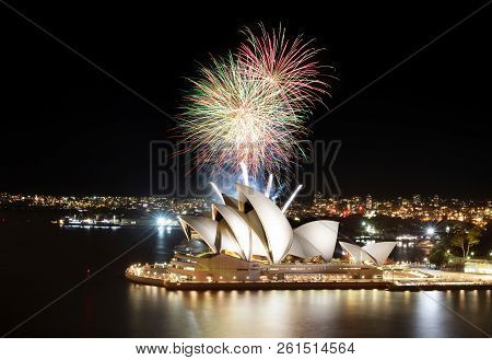 Sydney, Australia - March 8, 2018 - Brilliant Sydney Fireworks Show Finale Over The Opera House At N