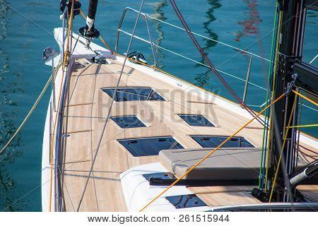 Sailing Yacht Sailing In The Sea. Sailboat. Sailing.