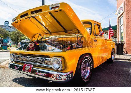 Matthews, North Carolina - September 3, 2018: A Restored Classic Chevrolet Pickup Truck Parked On Di