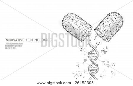 Opened Drug Capsule Medicine Business Concept. Dna Gene Therapy Glowing Medicament Prebiotic Probiot
