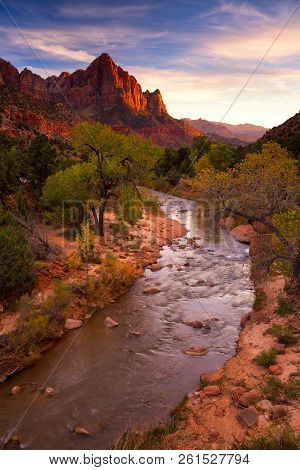 View Of The Watchman Mountain And The Virgin River In Zion National Park Located In The Southwestern