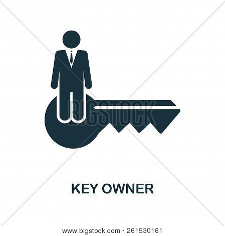 Key Owner Icon. Monochrome Style Design From Blockchain Icon Collection. Ui And Ux. Pixel Perfect Ke