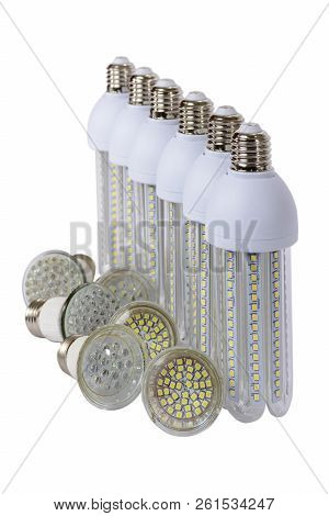 Series Of New Generation Led Lamps With High Brightness. White Background And E27 Socket. White Back