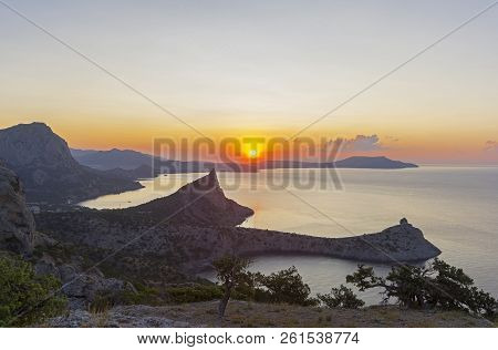 Dawn On The Black Sea Coast. View From The Top Of Karaul-oba, Novyy Svet, Crimea.