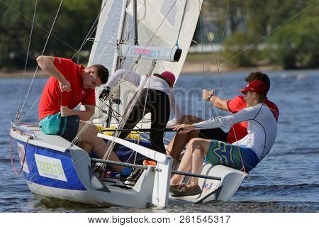 ST. PETERSBURG, RUSSIA - AUGUST 1, 2018: Athletes compete in the final of Saint Petersburg University Open Cup. This year teams from 9 countries take part in the Cup