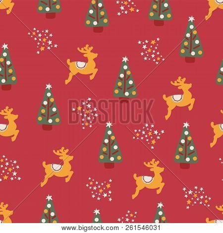 Christmas Trees Reindeer Stars Seamless Repeat Vector Pattern Hand Drawn. Pink Background. For Fabri