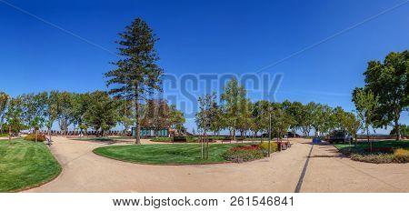 Santarem, Portugal - September 11, 2017: Jardim das Portas do Sol Garden and Belvedere or Viewpoint