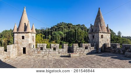 Santa Maria da Feira, Portugal - October 12, 2017: Rooftop of the keep of Castelo da Feira Castle. Towers, battlements and crenels
