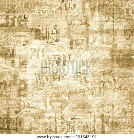 Old Grunge Newspaper Paper Textured Square Background. Vintage Newspaper Texture. Newsprint Typed Sh