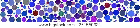 Abstract Horizontal Banner Of Circles Of Different Sizes In Shades Of Blue Colors On White Backgroun