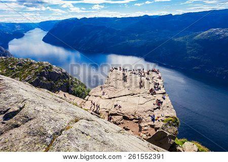 Preikestolen Or Prekestolen Or Pulpit Rock Is A Famous Tourist Attraction Near Stavanger, Norway. Pr