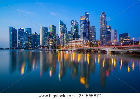 Singapore, Singapore - APRIL 18, 2018: View at Singapore City Skyline, which is the iconic landmarks of Singapore