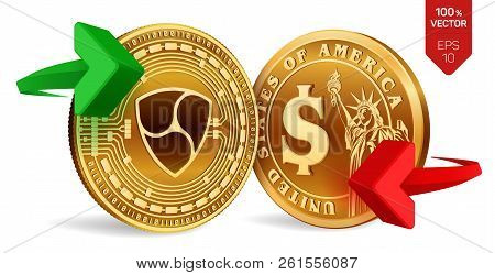 Nem To Dollar Currency Exchange. Nem. Dollar Coin. Cryptocurrency. Golden Coins With Nem And Dollar