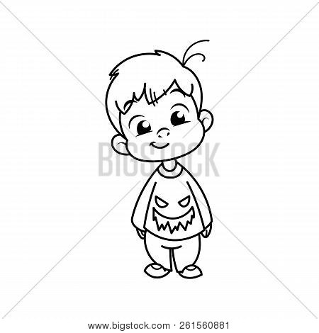 Cutest Kid In Haloween Blouse. Illustration Isolated On White Background. Design Element For Print,