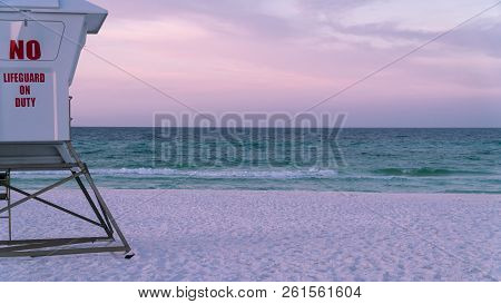 Lifeguard Tower On A Beautiful White Sand Florida Panhandle Beach.