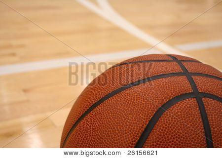 Basketball on a hardwood court