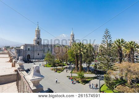 Arequipa Peru September 14 2018 Panoramic View Of Main Park, Its Cathedral And Misti Volcan In Arequ