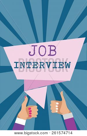 Writing Note Showing Job Interview. Business Photo Showcasing Assessment Questions Answers Hiring Em