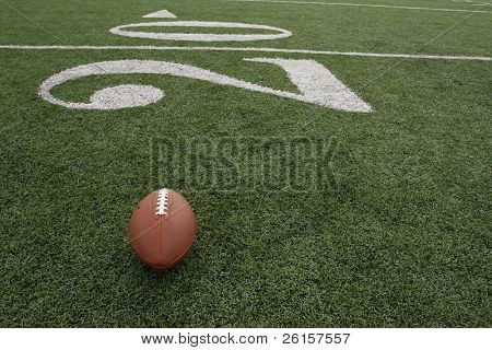 Football positioned near the twenty yardline