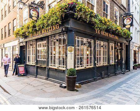 London. September 2018. Ye Olde Watling Pub In The City Of London In London