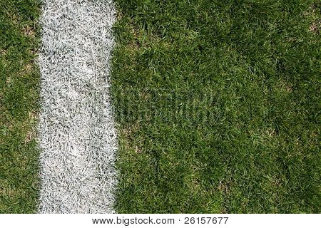 Roughed up grass field and yardline for football background