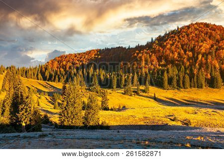 Gorgeous Sunrise In Mountains. Forest In Fall Color. Distant Mountain Lit By Rising Sun. Meadow In G