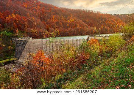 Dam Of Water Reservoir On The Tereblya River Of Transcarpathia, Ukraine. Beautiful Autumn Scenery Wi
