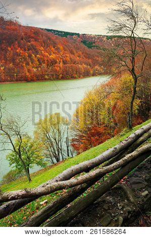Water Reservoir On The Tereblya River Of Transcarpathia, Ukraine. Beautiful Autumn Scenery With Fore