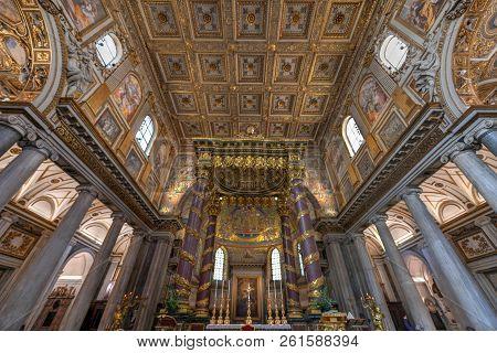 Rome, Italy - March 25, 2018: Basilica Di Santa Maria Maggiore In Rome, Italy. Santa Maria Maggiore,