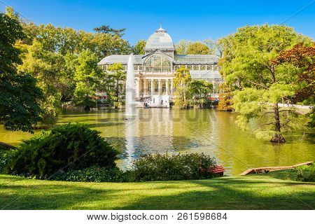 Crystal Palace Or Palacio De Cristalis In The Buen Retiro Park, One Of The Largest Parks Of Madrid C