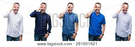 Collage of handsome senior hoary elegant business man standing over isolated background doing ok gesture with hand smiling, eye looking through fingers with happy face.