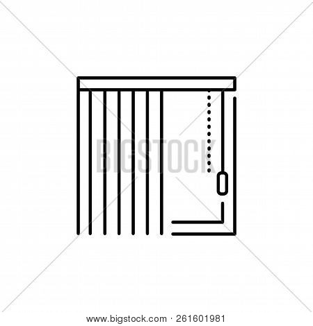 Vector Illustration Of Vertical Blind. Line Icon Of Window Shade & Jalousie. Isolated Object On Whit