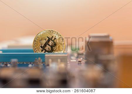 Bitcoin Coin In  Video Card Pci-express Slot , Mining Virtual Cripto Money.