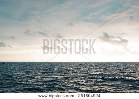 Landscape Sky And Sea. Empty Skyline. Sea Background