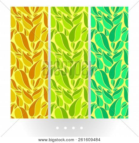 Set Of Bright Abstract Vector Seamless Pattern With Big Leaves On Bright Background. Big Abstract Co