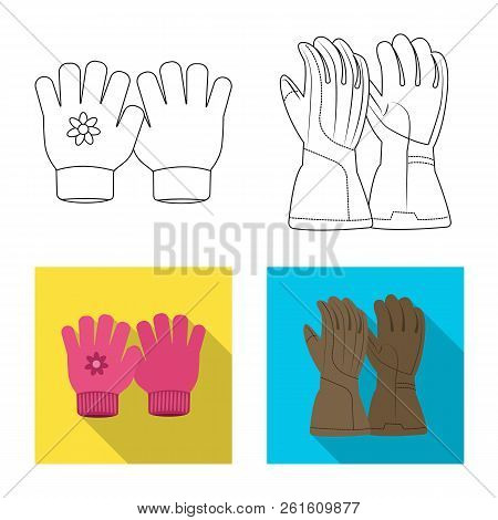 Vector Illustration Of Glove And Winter Sign. Collection Of Glove And Equipment Stock Vector Illustr