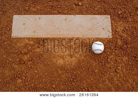Baseball near the pitchers mound with room for copy