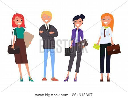 Well-dressed Employers In Expensive Suits, Business Women And Man With Digital Tablets Isolated Set,