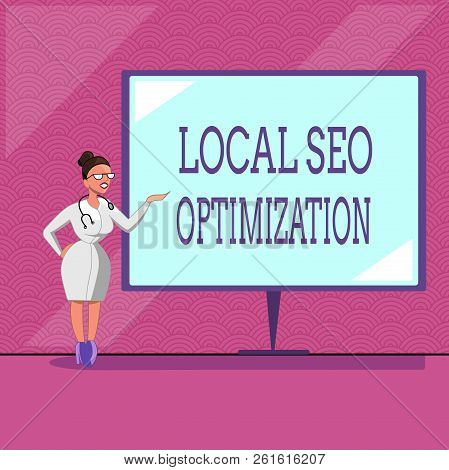 Conceptual Hand Writing Showing Local Seo Optimization. Business Photo Text Increase Search Visibili