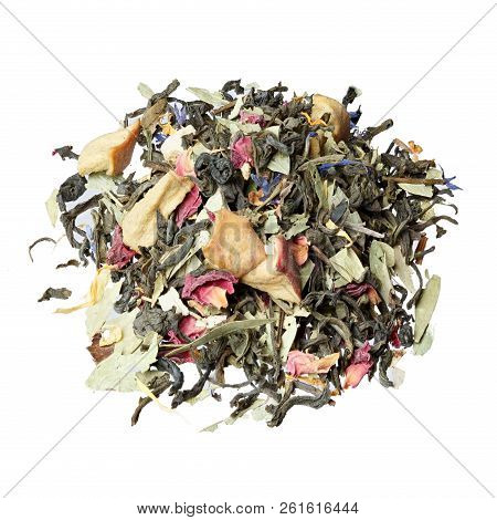 Tea on the basis of green Chinese Sencha tea, senna leaves, rose poster