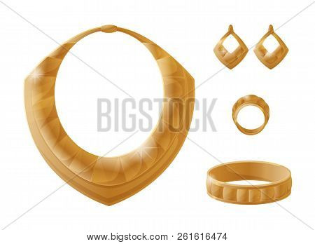 Golden Jewelry Pieces Made Up Of Rich Material, Earring And Ring, Carcanet Bracelet Collection, Eleg