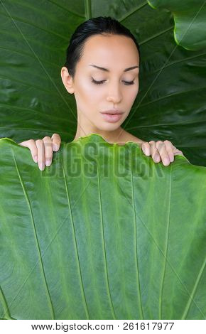 Soft Bed Of Leaves. Portrait Of Beautiful Young Woman Looking Trough Green Tropical Leaves.