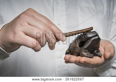 Money Lucky Feng Shui Frog In Businessman`s Hands. Good Fortune, Wealth And Prosperity Concept.