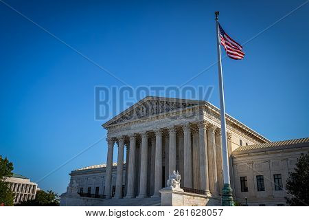A Summer Day In Front Of The Us Supreme Court Building In Washington, Dc.