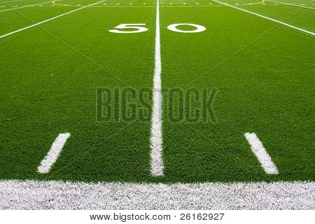 Fifty Yard Line of a Football Field with hashmarks