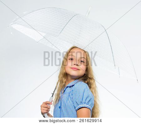 Best fall accessory concept. Enjoy fall weather. Fall rainy pleasant weather. Girl child ready meet fall weather with transparent umbrella white background. Enjoy rainy days with umbrella accessory poster